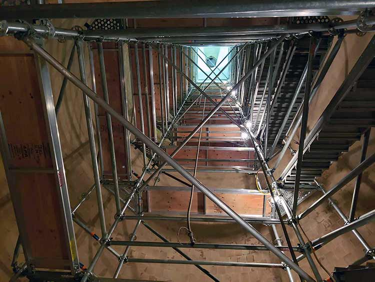 Confined space scaffolding